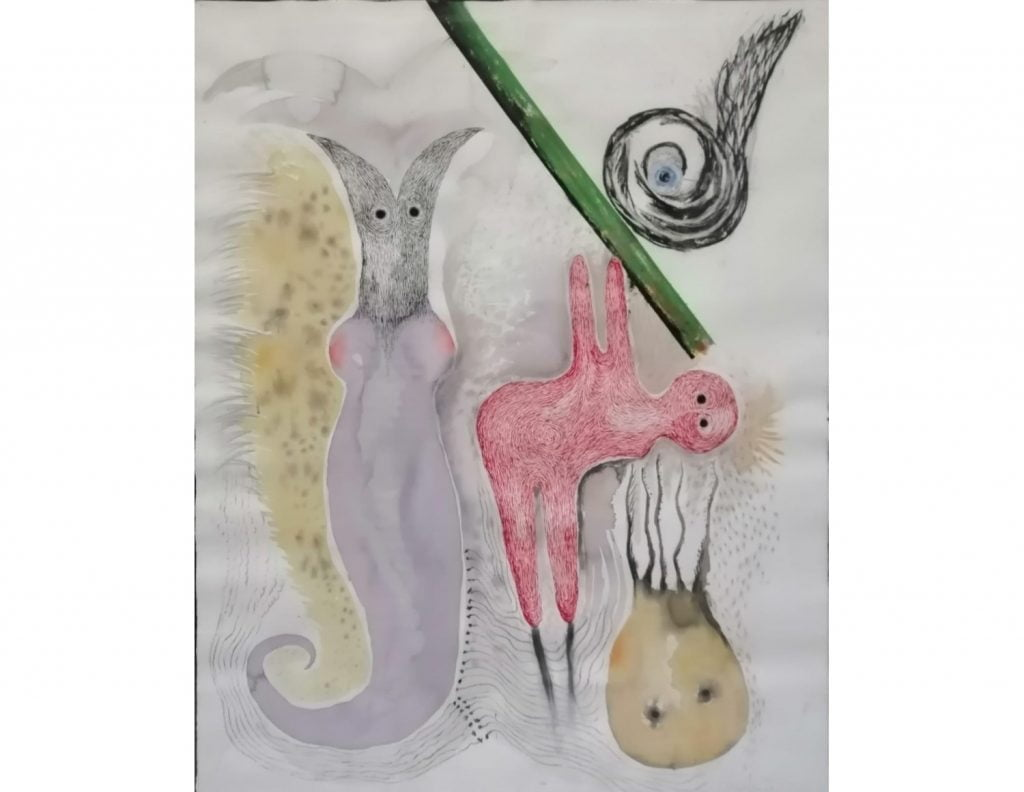 Sin Título. Pintura sobre papel. 134 x 108 cm.