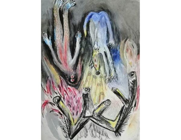 Sin Título. Pintura sobre papel.43 x 30 cm.