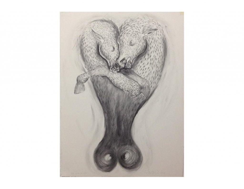 El amor y la ira. Dibujo sobre papel. 76 x 58 cm.