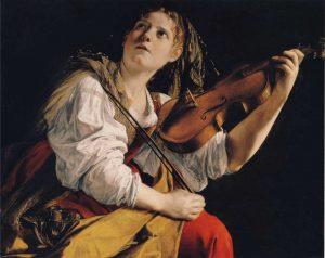 Mujer joven con violín para milartienda.com